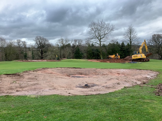 Overview Of Greenside Bunkers At 3rd Hole Being Shaped